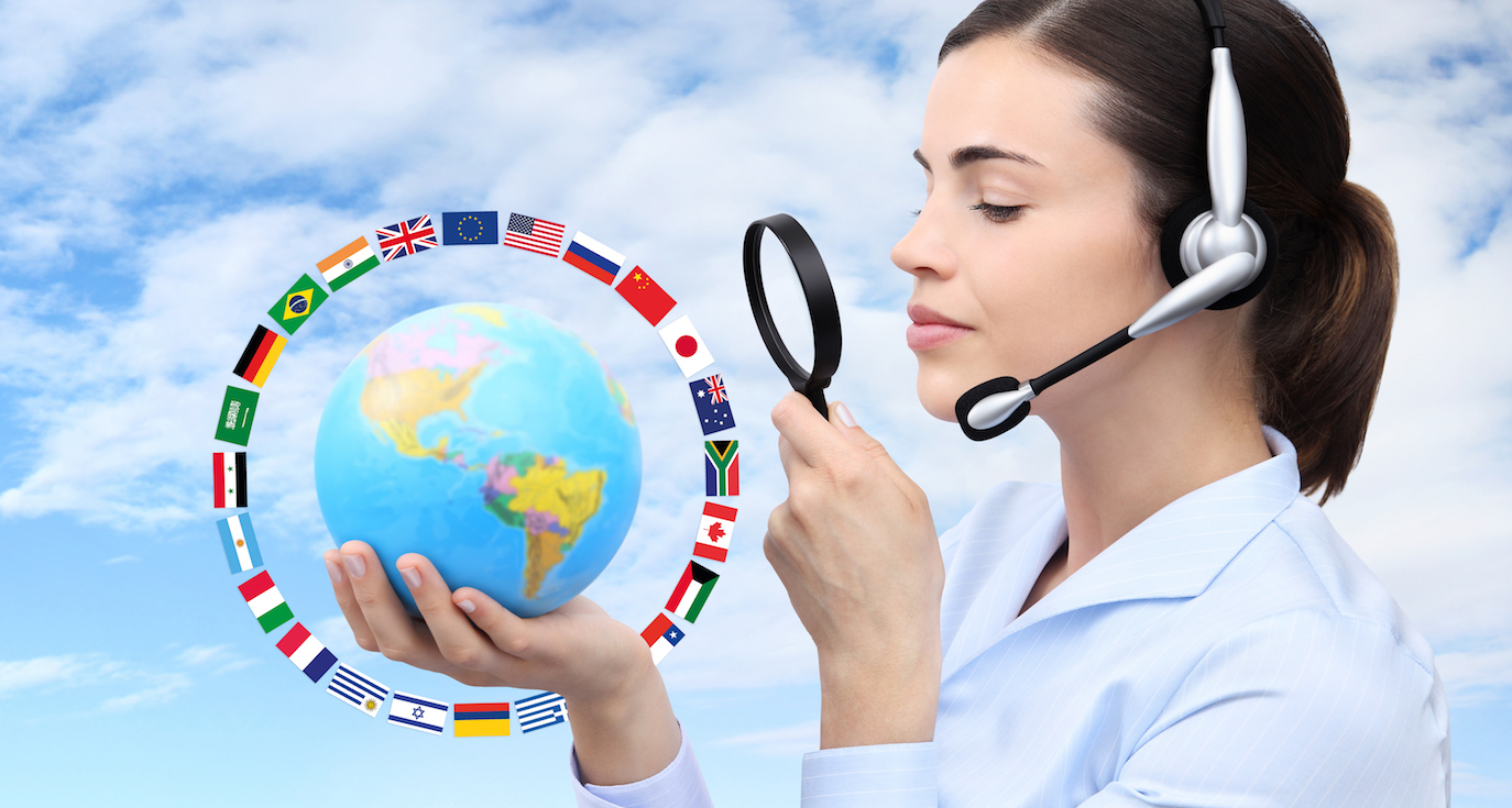 concept search, woman with headset, globe, flags and magnifying glass isolated on blue sky background